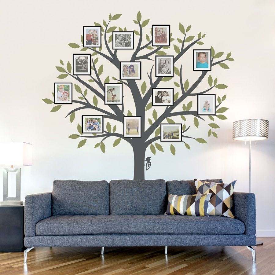 Large family tree wall decal tree wall sticker nature wall decal living room art family photo art family tree art usd by wallumswalldecals