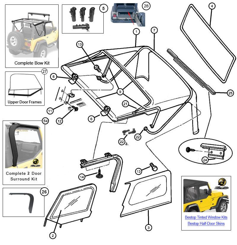 jeep wrangler tj parts diagram on jeep soft top hardware diagram