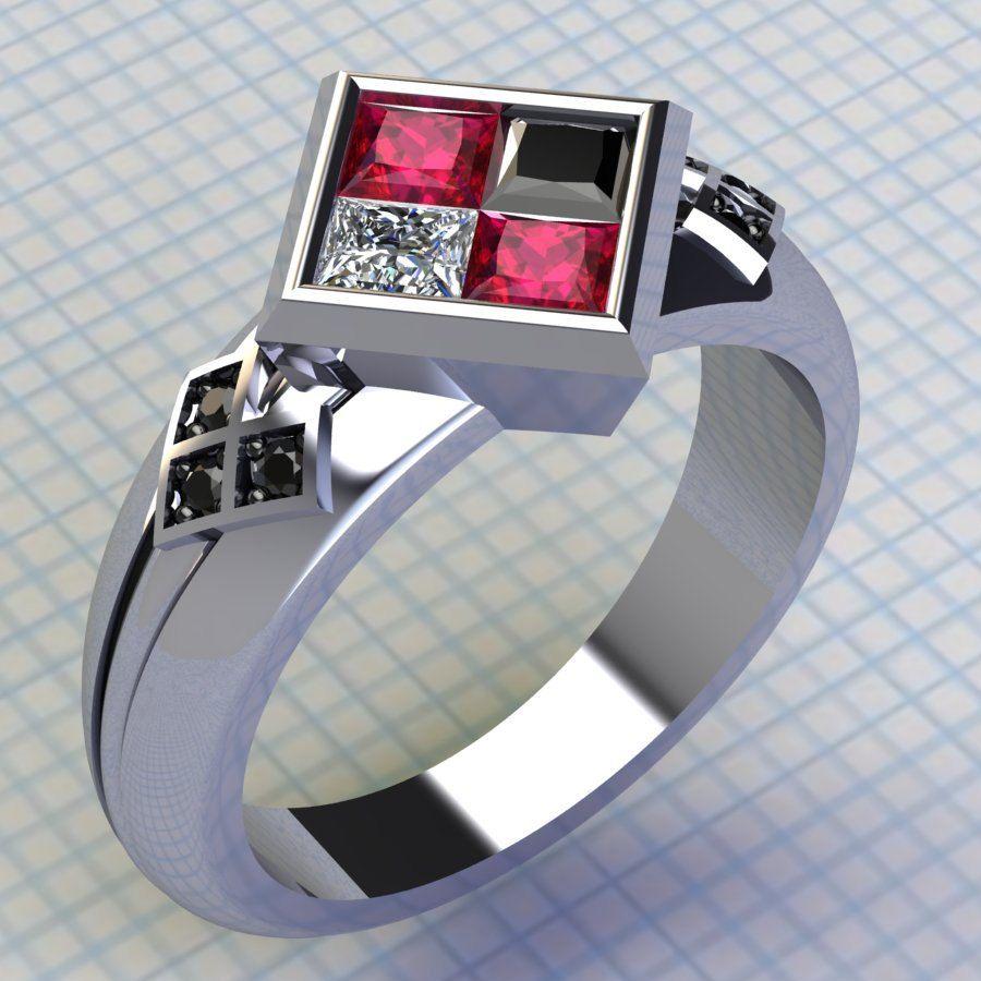 batman wedding ring Harley Quinn Ring Ruby and Black Diamond Ring Batman Ring Joker Ring Engagement Wedding Ring Comic