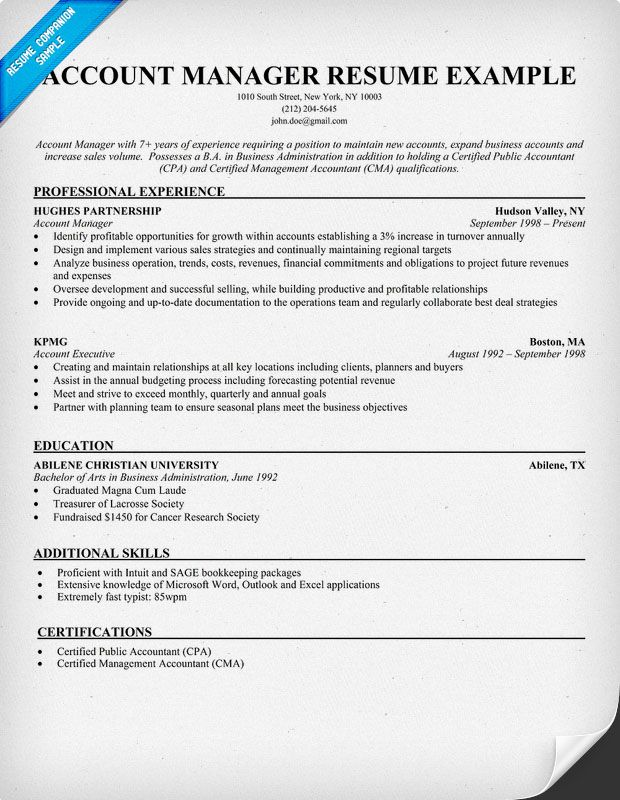 Account Manager Resume Sample Resume Samples Across All - cost accountant resume