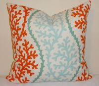 OUTDOOR Coral Blue Orange Pillow Cushion Covers Nautical ...