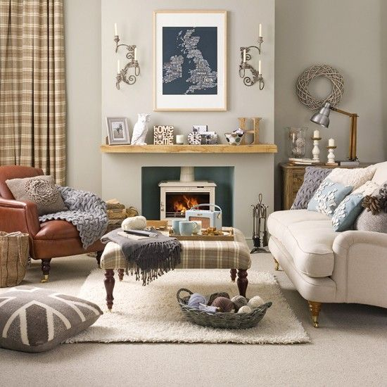 Living room with chaise longue Beige walls, Backdrops and - modern country living room