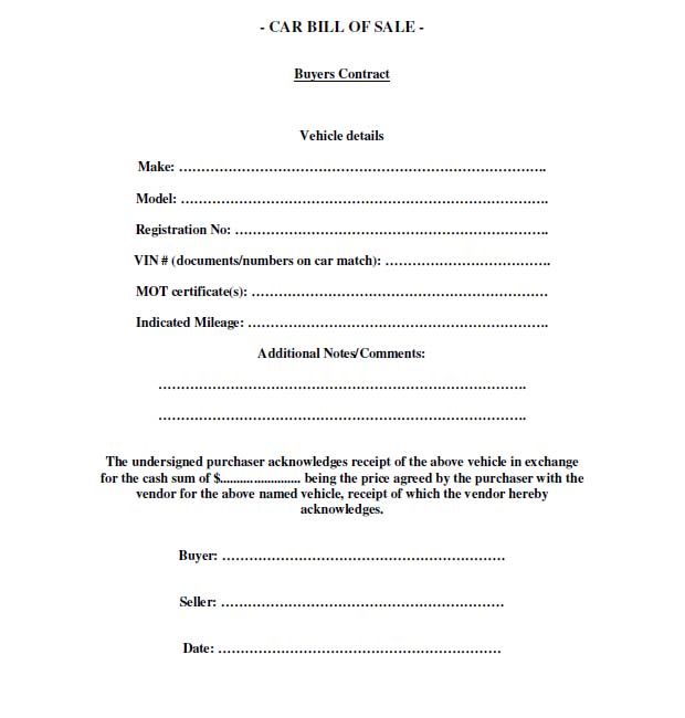 Printable Sample Free car bill of sale template Form Laywers - bill of sale generic