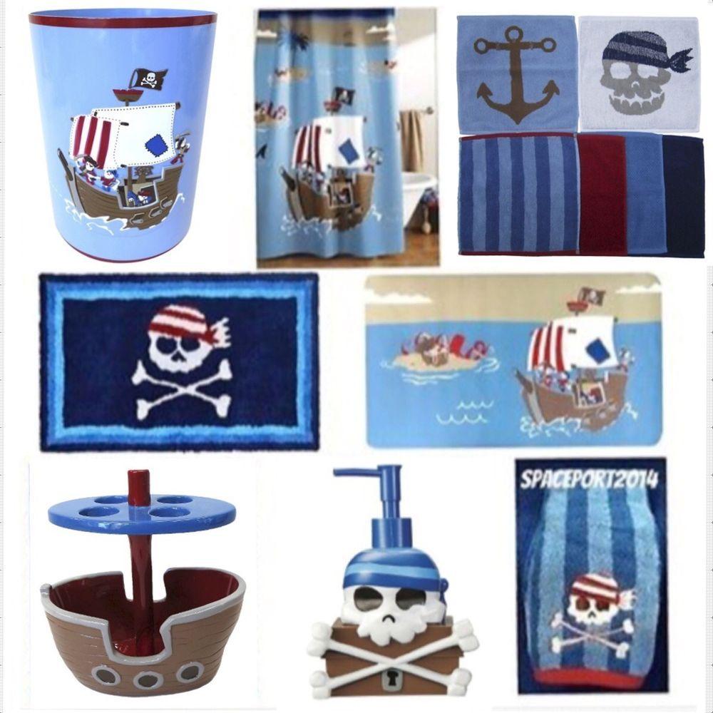 Pirate ship set bathroom decor crossbones kids skulls shower curtain accessories