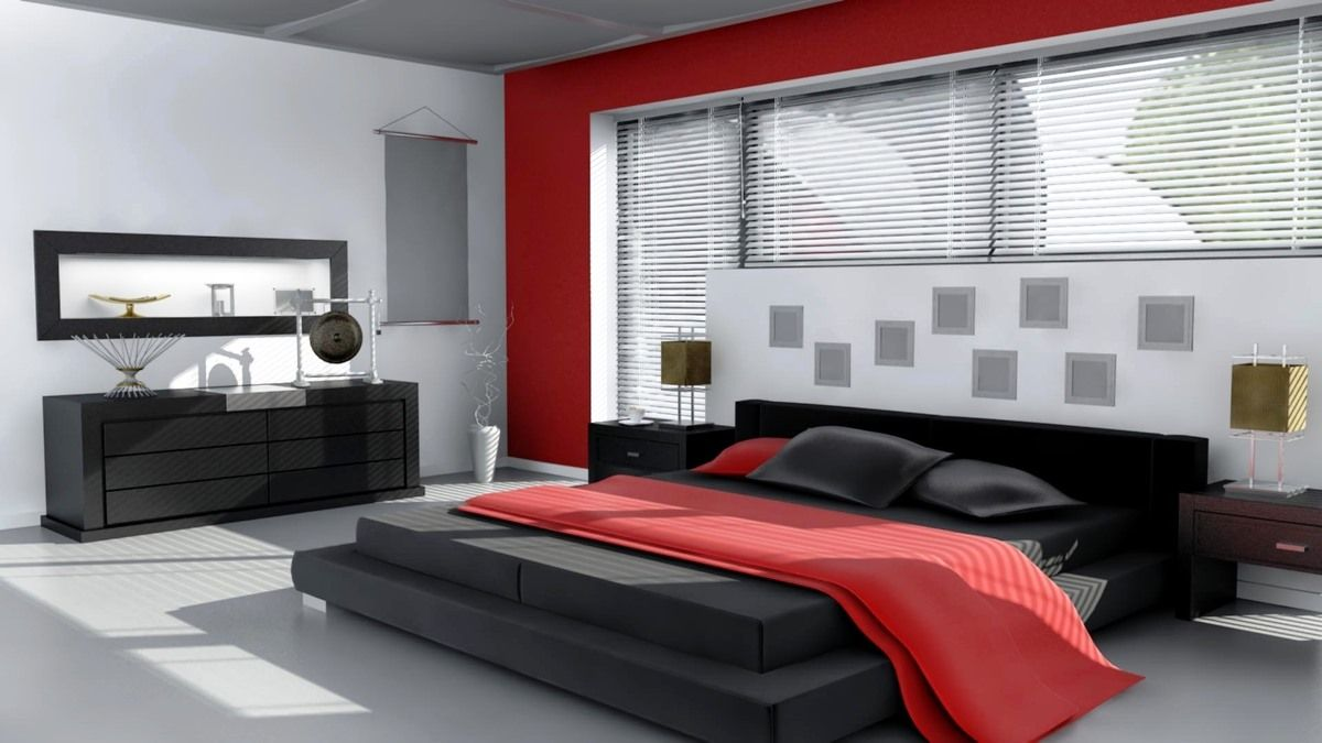 Elegant yet modern attic bedroom design including wooden floor plus red bed design and metal furniture and lamp 7 basic tips for bedroom design ideas