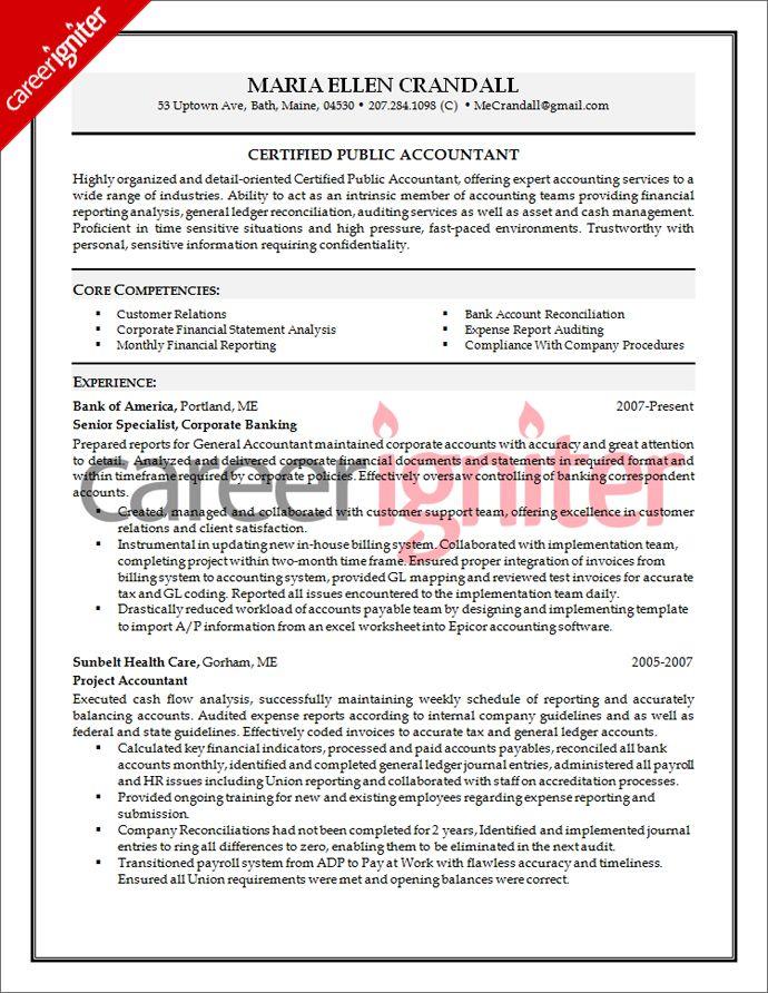 Accounting Resume Sample Resume Pinterest Resume, Accounting - senior accountant resume sample