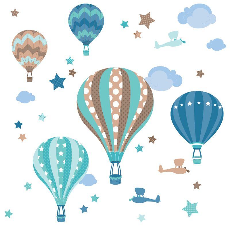 Kinderzimmer Wandsticker Heißluftballons mint\/taupe 33-teilig - wandsticker babyzimmer nice ideas