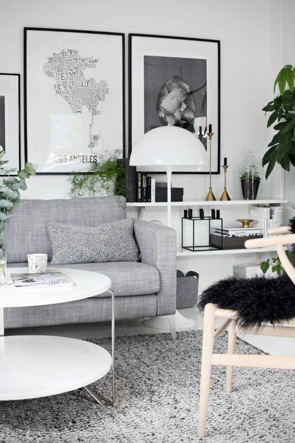 skandinavischer stil graues sofa grauer teppich weißer tisch - ikea esstisch beispiele skandinavisch