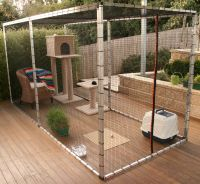 Cat enclosure outside with toys and box. | Pets ...