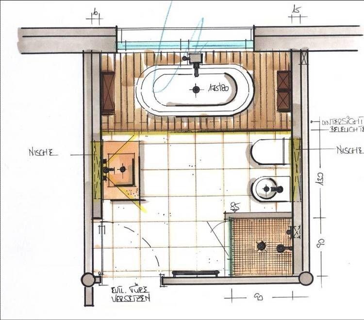 Badaufteilung Grundriss Badgrundriss Pinterest Grundrisse   Badezimmer  Grundriss Planen