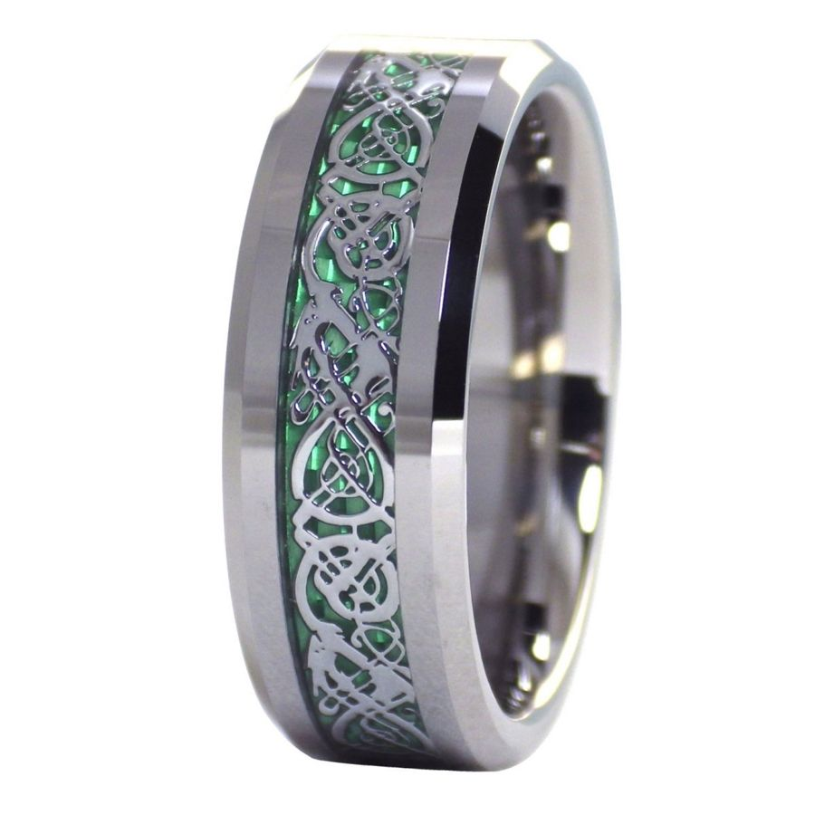 carbon fiber wedding bands Green Celtic dragon ring Mens womens tungsten ring size 6 6 5 7 7 5