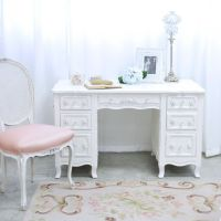 Shabby Cottage Chic 6 Drawer Writing Desk White French ...