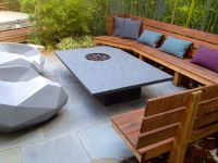 the custom black slate table with gas fire pit, Ipe' bench ...