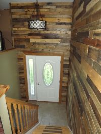My Bi-level Home Foyer with pallet wood walls | For the ...