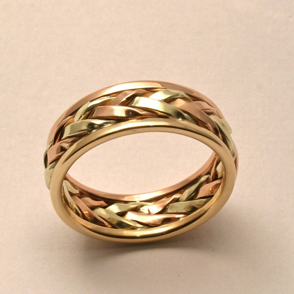 mens wedding rings unique Braided in Gold Men s Large Wedding Band by HarvestGoldJewelry 00 Groom Wedding BandsUnique
