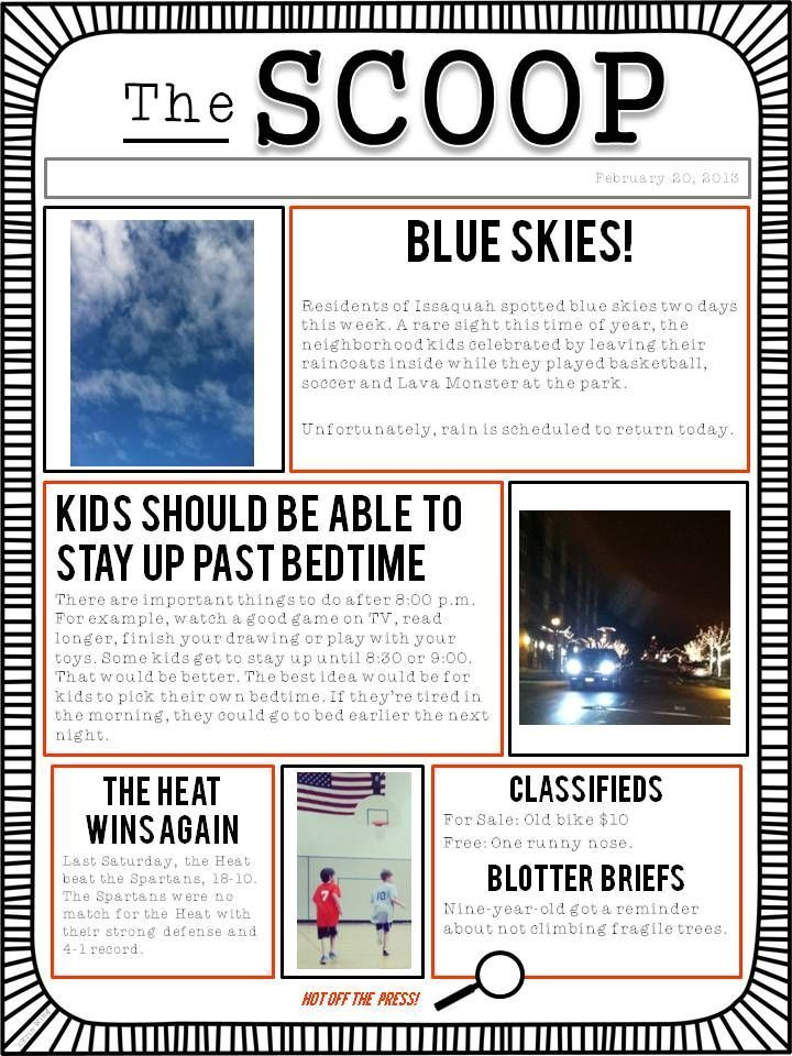 Customizable newspaper template Great for classroom or home! Free - online newspaper template