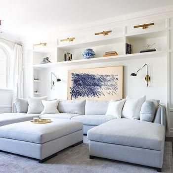 Gray Blue Sectional with Two Chaise Lounges, Contemporary, Living - living room chaise lounge