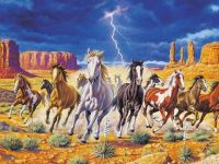 horses | Wild Horses With Storm Background Wallpaper ...