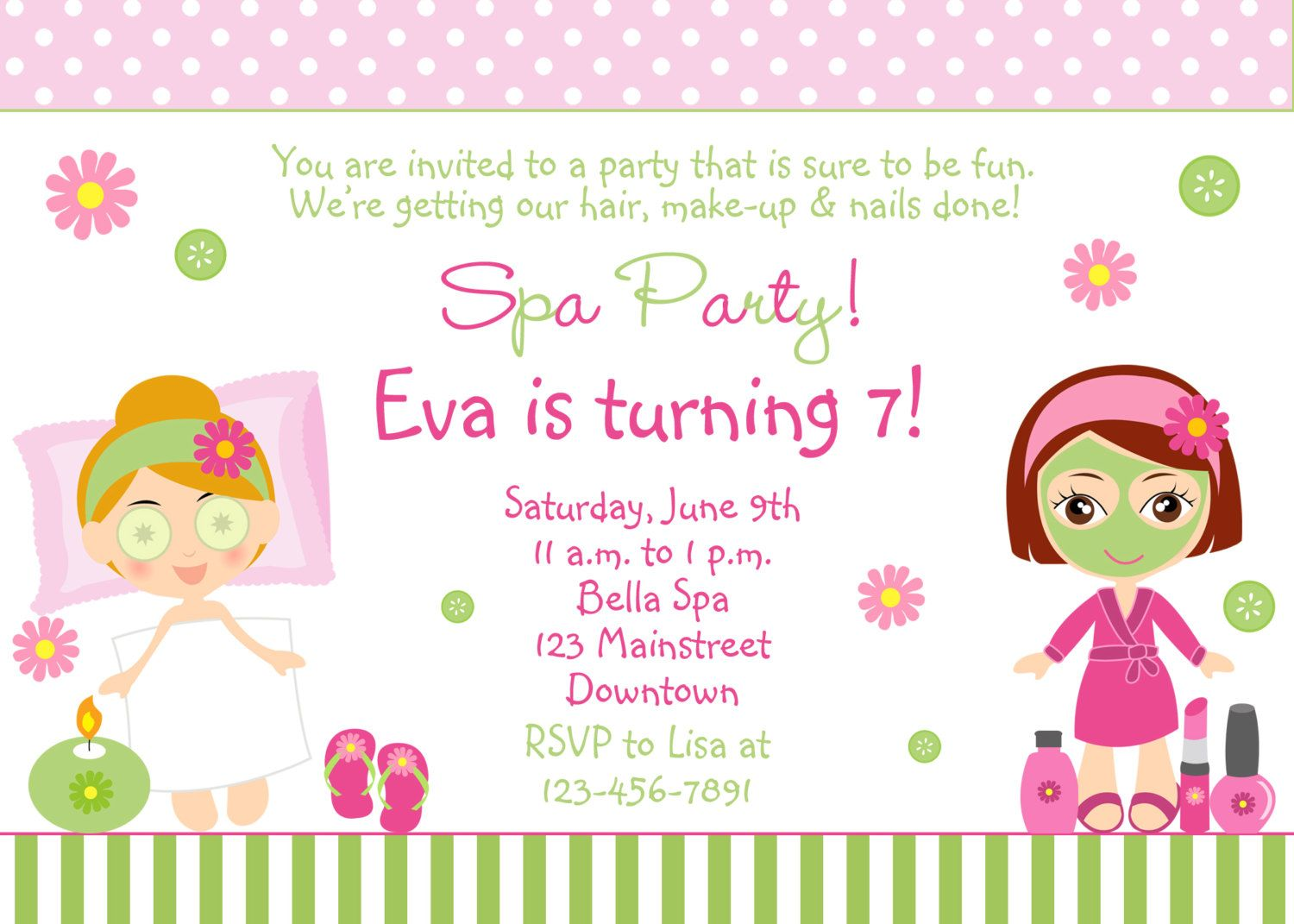 Free Spa Party Invitations Printables Girls Invitetown