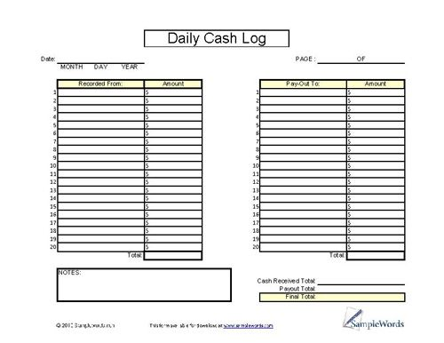 Daily Cash Log Sheet - Printable Cash Form for Financial Records - petty cash log template