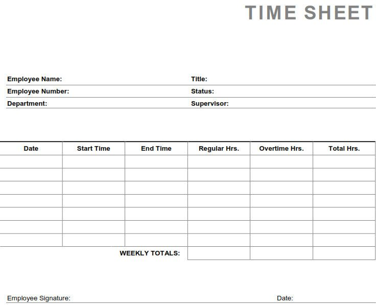Printable PDF Timesheets For Employees Printable Weekly Employee - sample payroll timesheet
