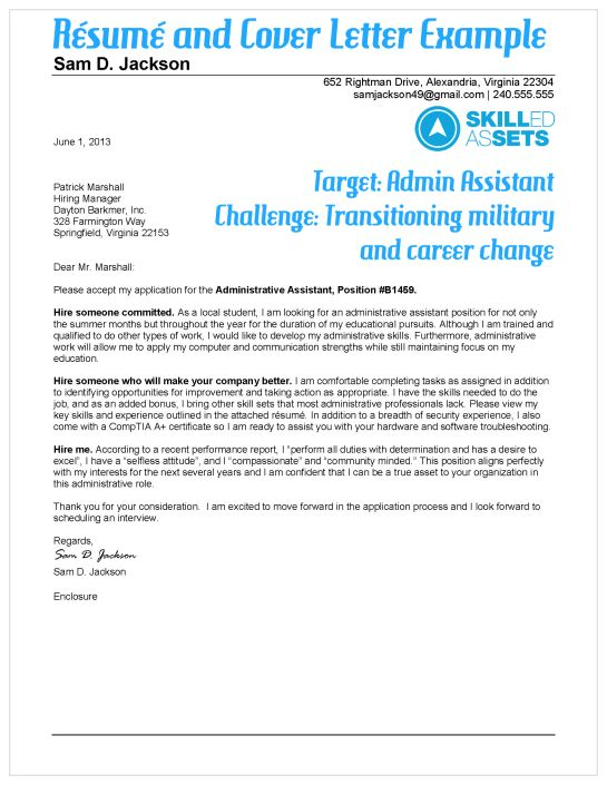 Great example! Transitioning military resume and cover letter - sample cover letter career change