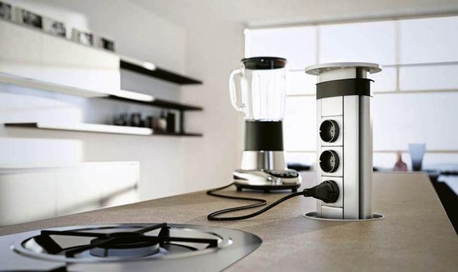 Moderne Küche Domus steckdosen küchengeräte kochinsel integriert - moderne kuche praktische kuchengerate