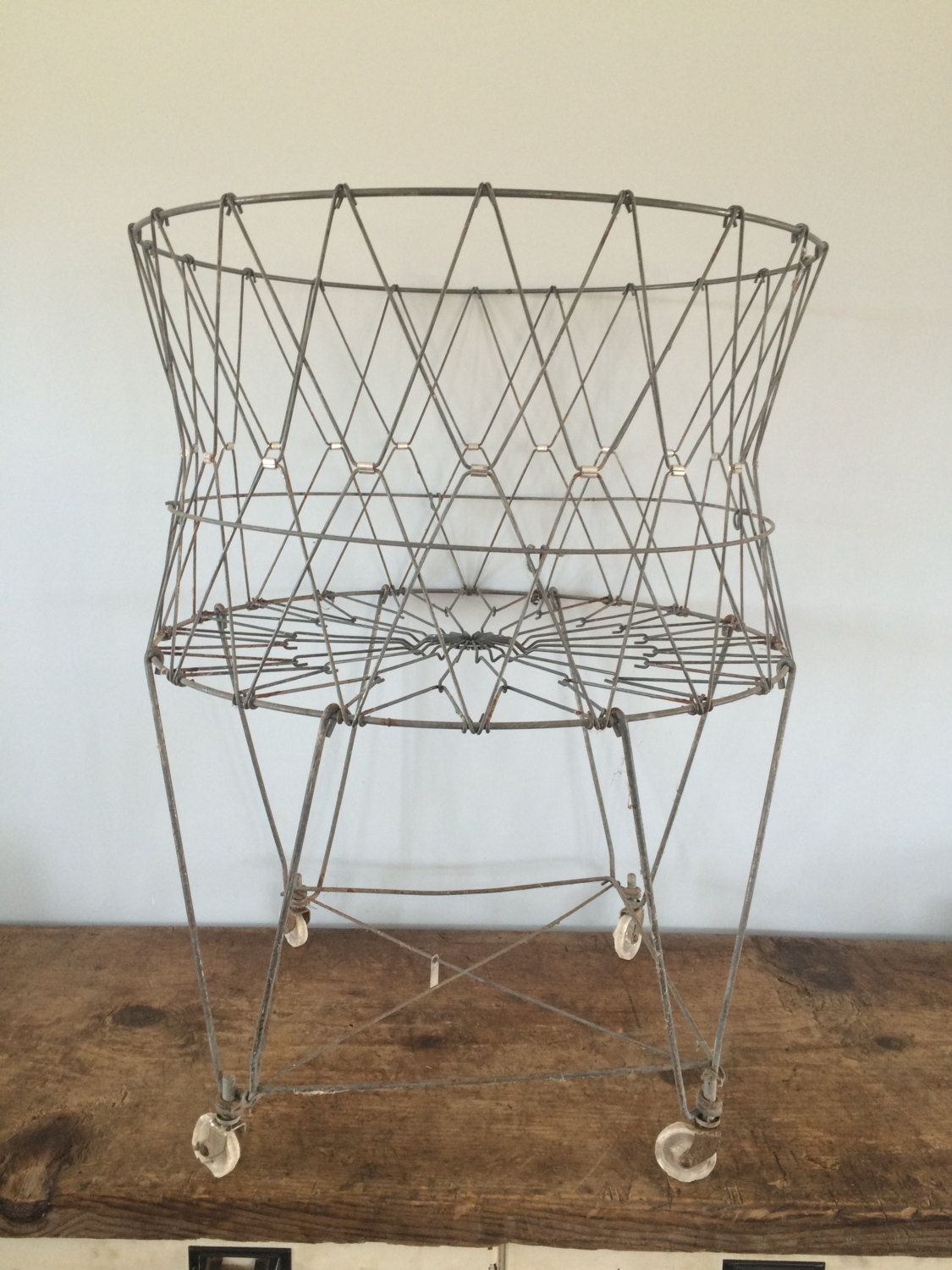 Wire Laundry Hamper On Wheels Vintage Original Collapsable Wire Laundry Basket On Wheels