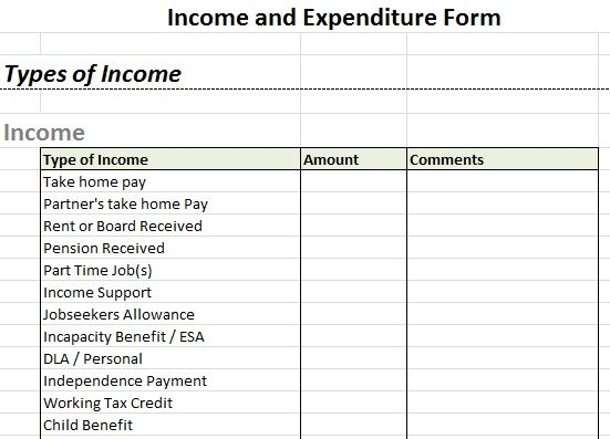 Example Income and Expenditure Form Debt Help Pinterest - personal profit and loss statement template free