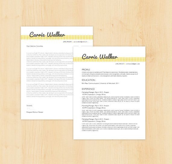 Resume Template \/ Cover Letter Template - The Carrie Walker Resume - cover letter designs