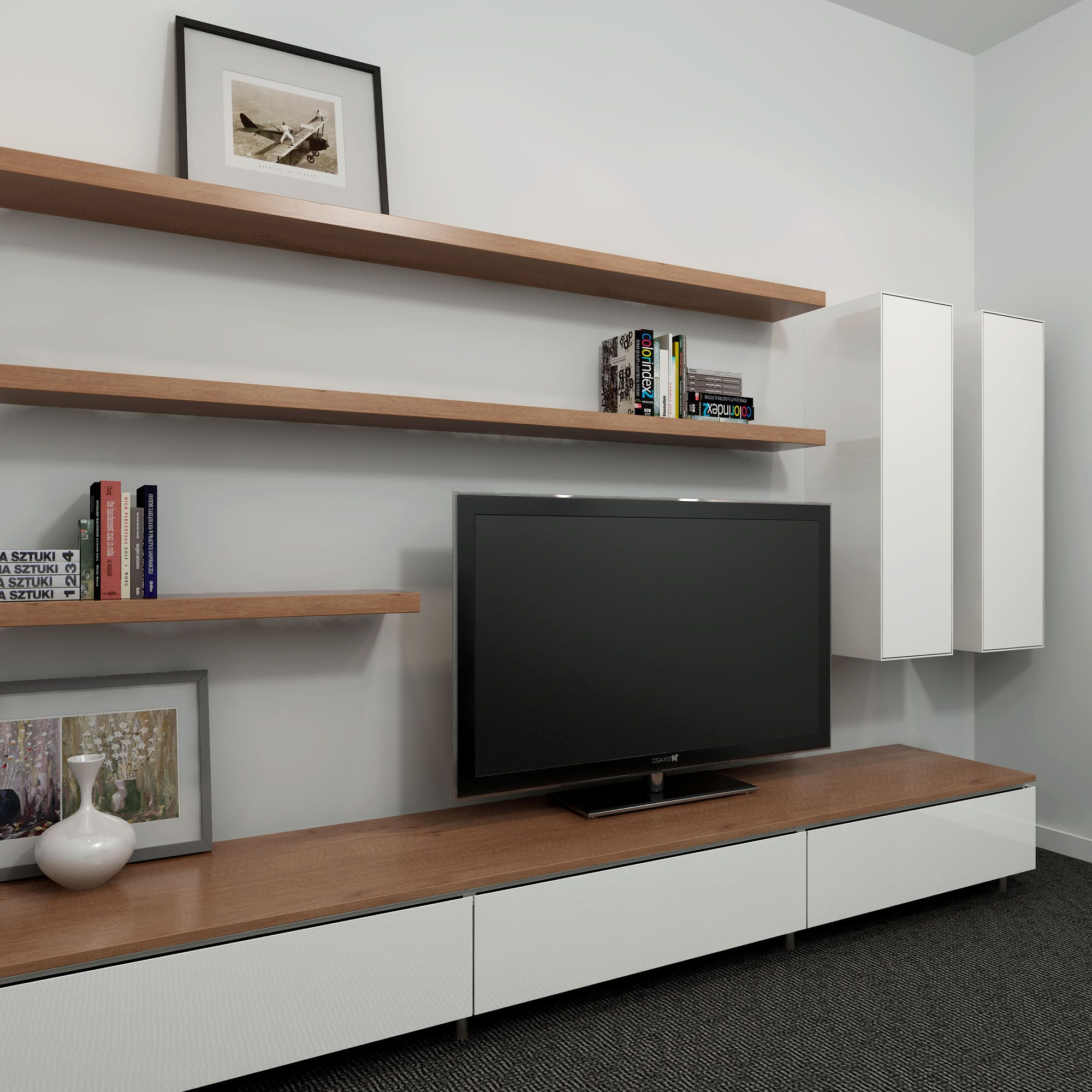 Floating Tv Wall Unit Cleanline Entertainment Unit With A Two Tone Look