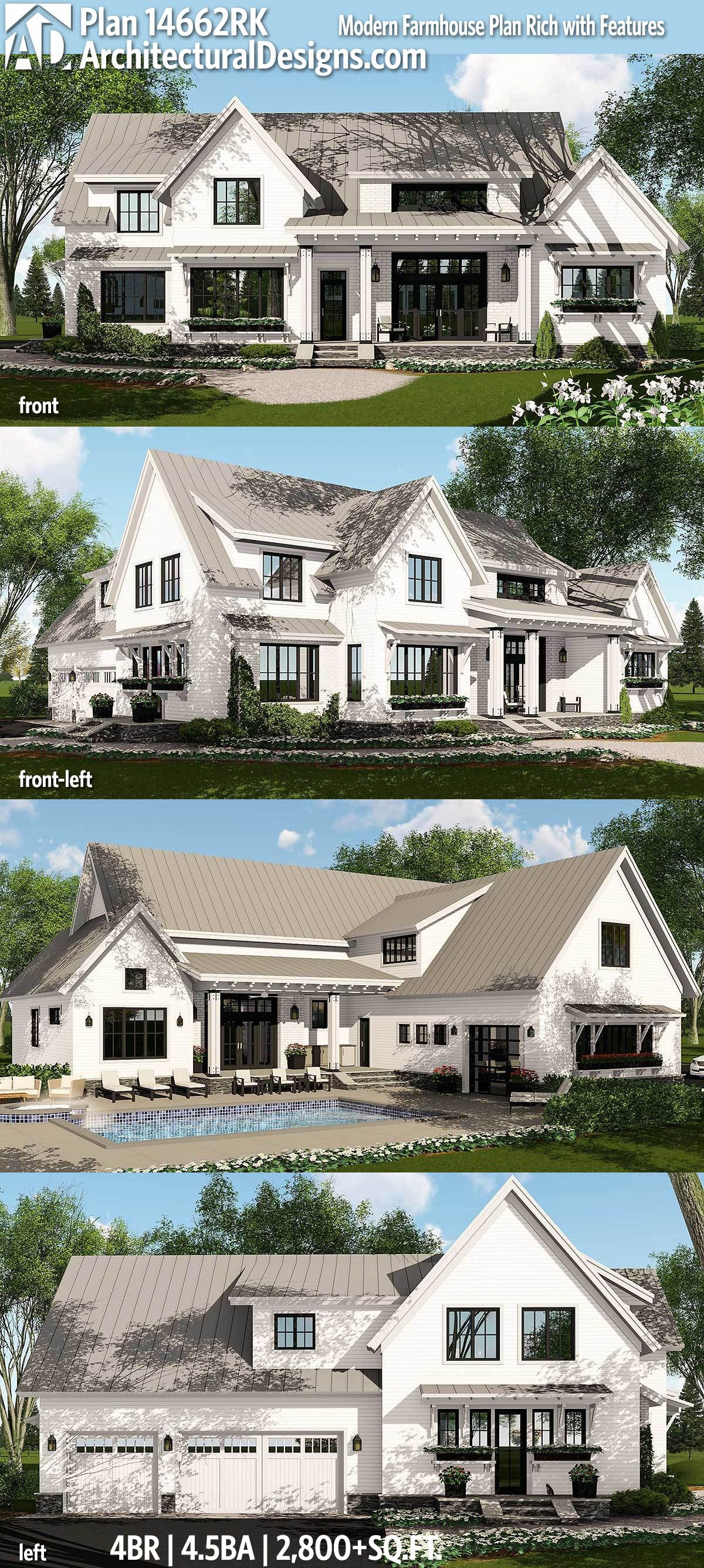 Farmhouse Architecture Features Plan 14662rk Modern Farmhouse Plan Rich With Features