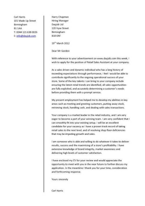 Cover letter that is appropriate when applying for retail sales - sales cover letters