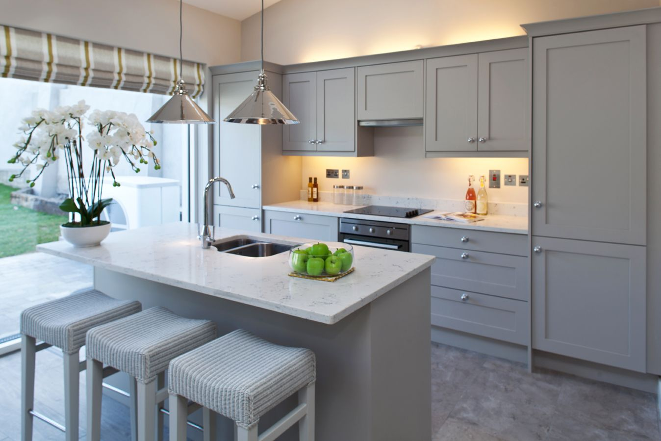 White Cabinets And Grey Countertops Kitchen Grey Cabinets With White Quartz Worktop