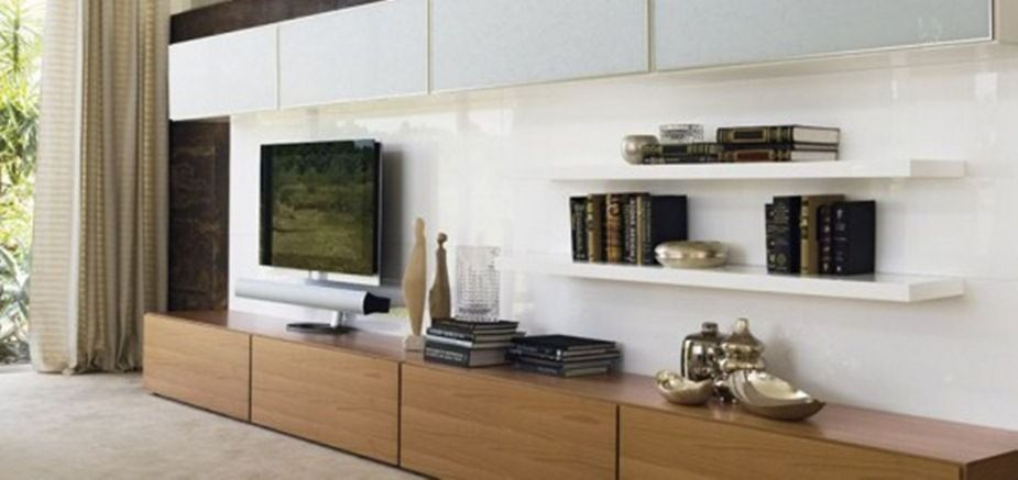 Wooden Pattern Tv Cabinet With Black Hdtv And Wall Bookcase On The - living room storage furniture