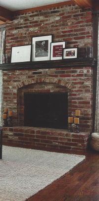 Have a red brick fireplace with dark wood mantel? This is ...