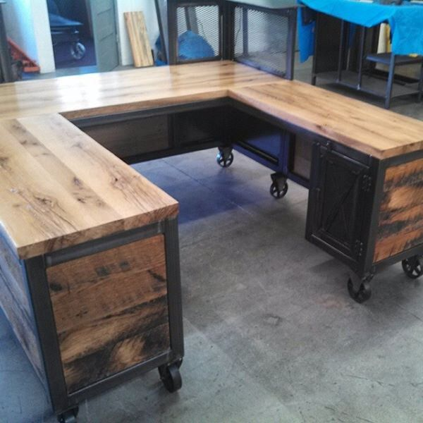Custom Reception Desk, Reclaimed Wood & Steel, Work