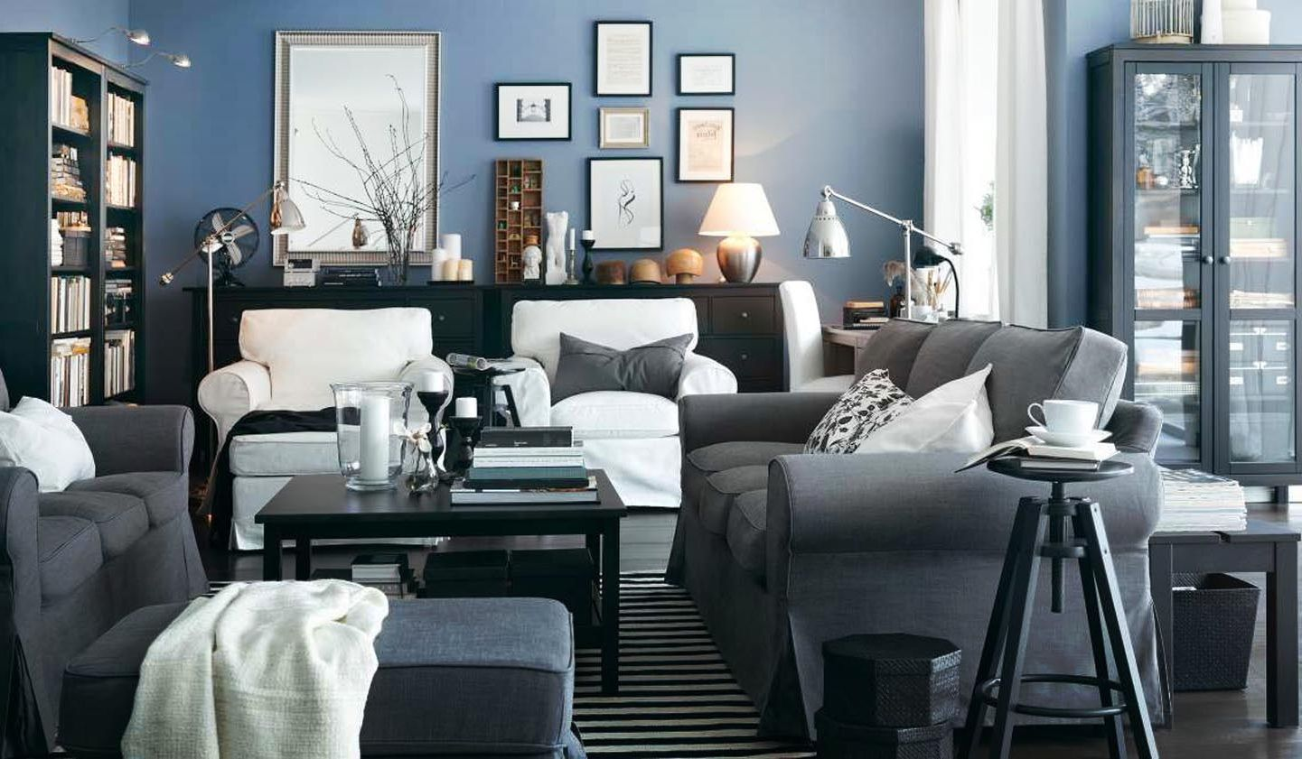 Nice other living room furniture interior stunning blue walls white draperies wall pictures table lamp grey sofa for elegant living room idea grey sofa
