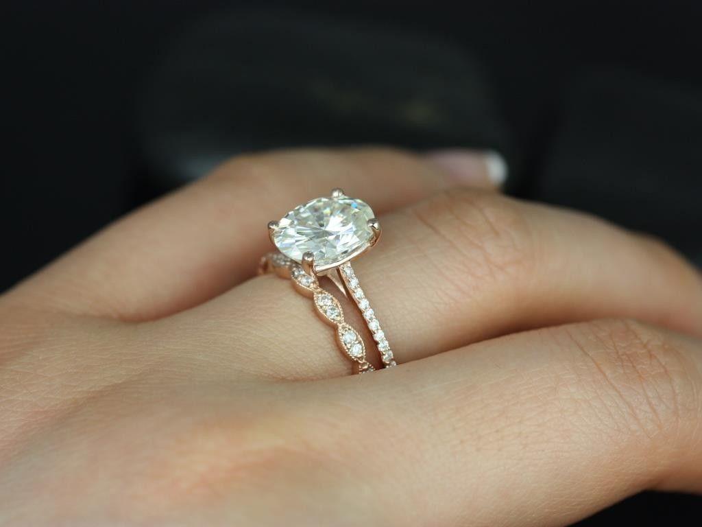 ring opal wedding ring sets Rosados Box Blake Christie Rose Gold Oval FB Moissanite and Diamonds Cathedral Wedding Set