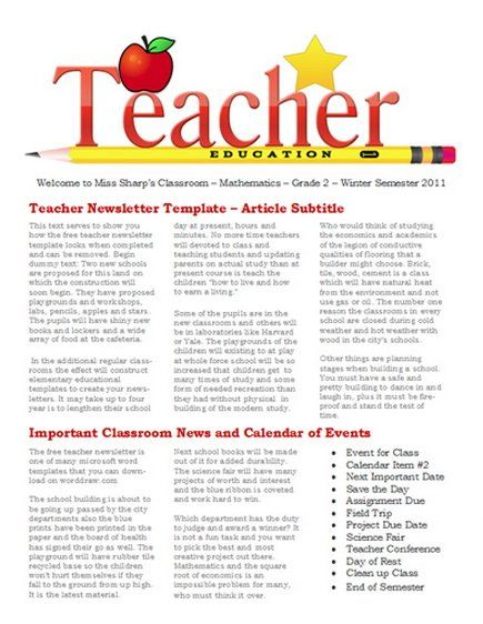 Free Newsletter templates for teaches and school Education - school newsletter templates