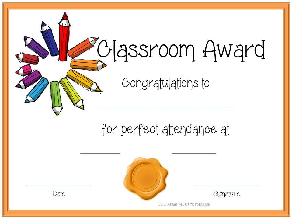 Certificate Template For Kids Perfect attendance award - certificate template for kids