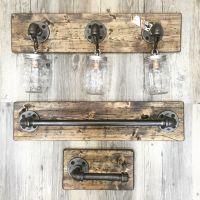 Rustic Industrial Bathroom Set, Light, Towel, TP | Mason ...