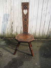 Antique old Spinning wheel Chair, Heart Shape cut out in ...