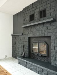 How to Easily Paint a Stone Fireplace (Charcoal Grey