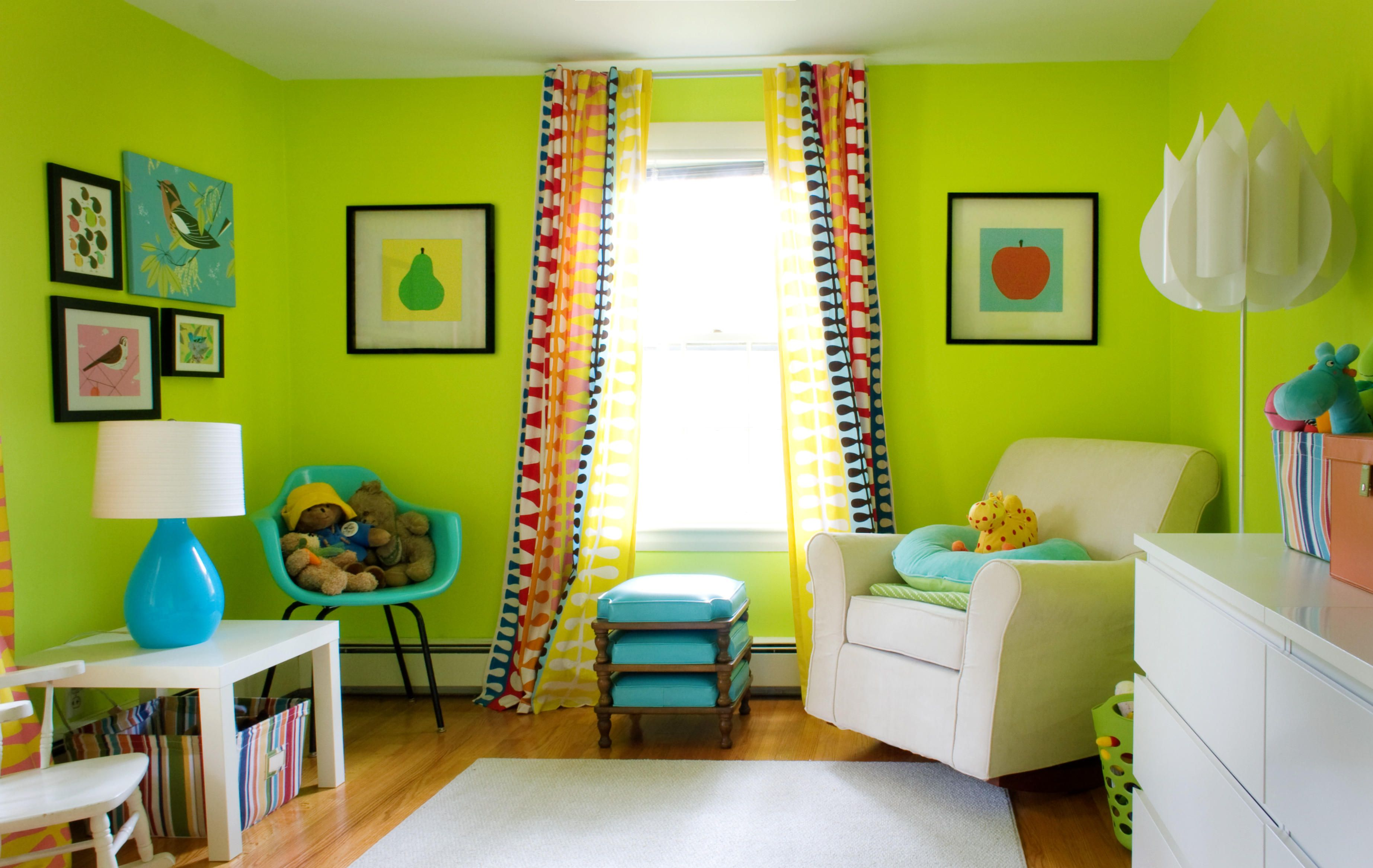 Lime green living room design with fresh colors home decoration green colored rooms