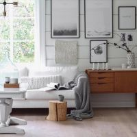 Modern rustic living room featuring white shiplap walls ...