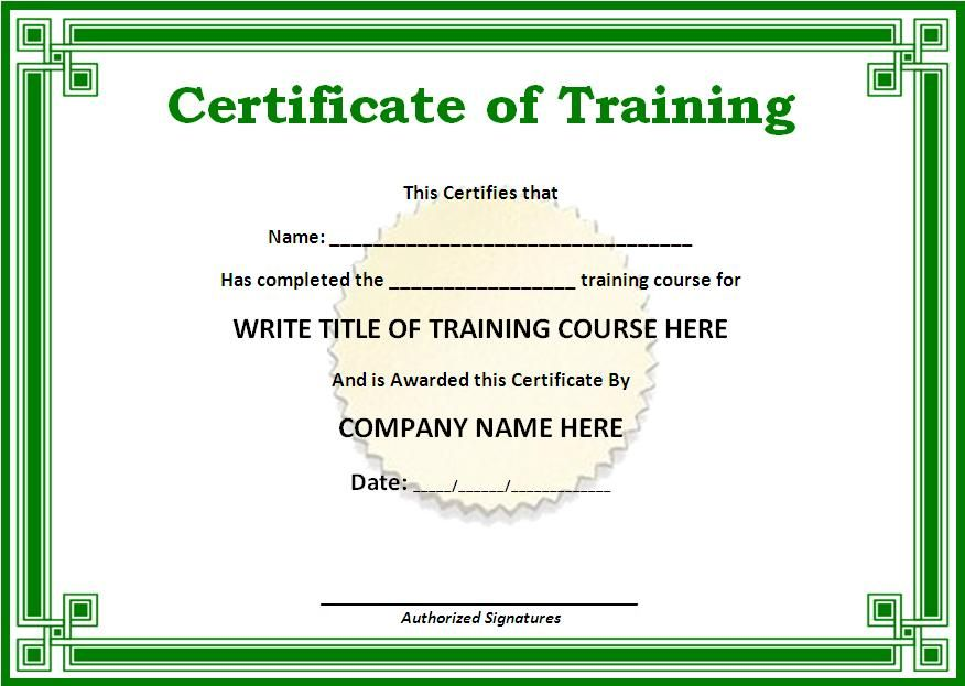 Training Certificate Templates for Word on the download - free training certificates