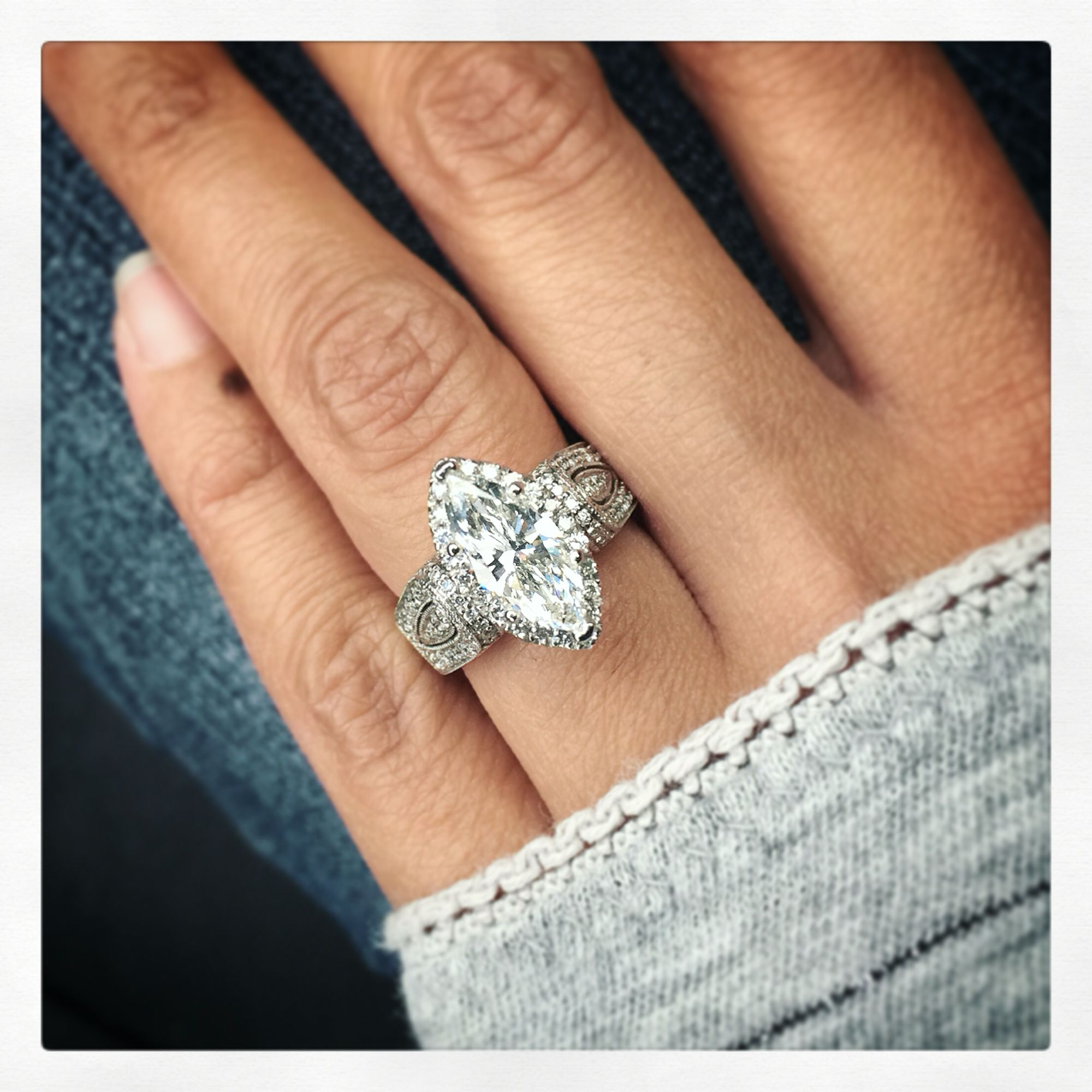 1 22 ct marquise diamond in 14k white gold halo pave diamonds setting custom engagement ring