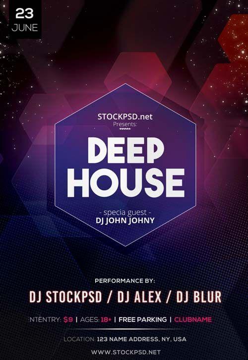 Deep House DJ Event Free PSD Flyer Template - http\/\/freepsdflyer - house flyer template