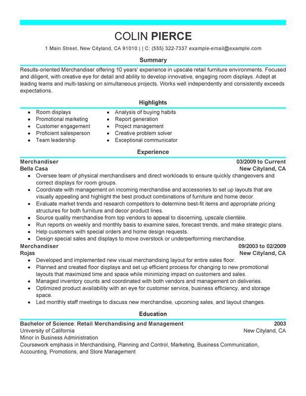 Merchandiser Retail Representative Part Time Resume Sample - My - the perfect resume sample
